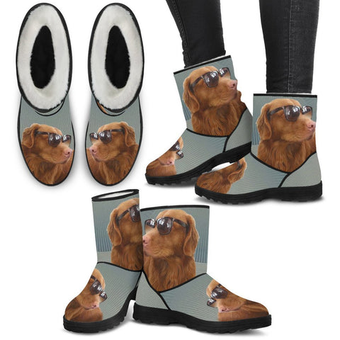 Nova Scotia Duck Tolling Retriever Print Faux Fur Boots For Women-Free Shipping