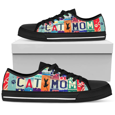 "Cat Print Shoes ""Cat Mom"" License Plate - Black"