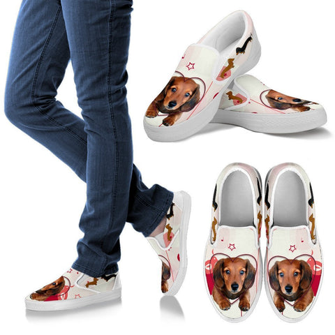Valentine's Day Special Dachshund Print Slip Ons For Women- Free Shipping