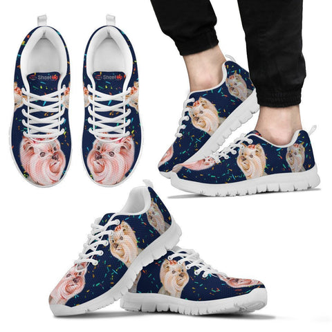 Cute Yorkshire Terrier blue Print Running Shoes For Men-Free Shipping