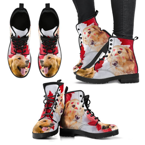 Valentine's Day Special Golden Retriever On Red Print Boots For Women-Free Shipping