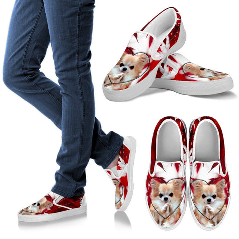 Valentine's Day Chihuahua Dog On Red Print Slip Ons For Women- Free Shipping