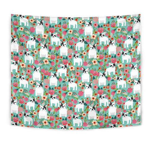 French Bulldog Floral Print Tapestry-Free Shipping
