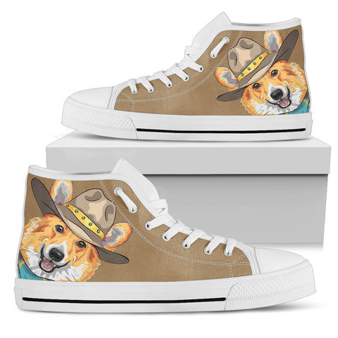 Corgi Cowboy Women's High Top - White