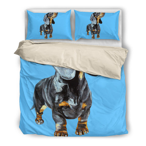 Black Dachshund Dog blue duvet