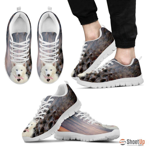 White Husky Dog Print Running Shoe For Men- Free Shipping