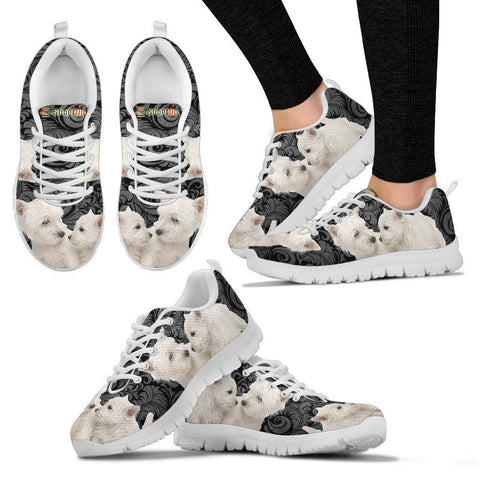 West Highland White Terrier On Black-Women's Running Shoes-Free Shipping