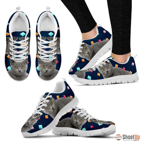 Chartreux Cat Print (White/Black) Running Shoes For Women-Free Shipping