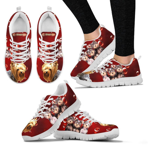 Yorkie On Red-Women's Running Shoes-Free Shipping