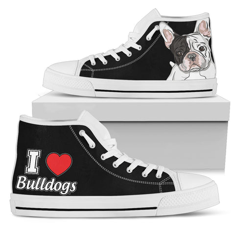 Bulldog Women's High Top - Black with White Soles