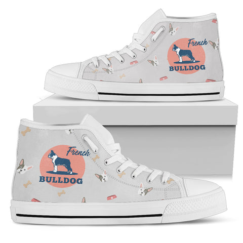 CUTE FRENCH BULLDOG Women's High Top Shoes - White