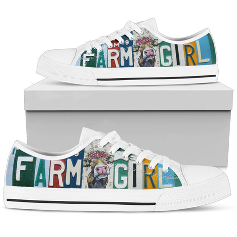 """Farm Girl"" License Plate Shoes for Farm and Cow Lovers"