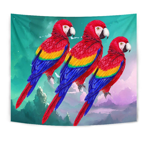 Scarlet Macaw Parrot Print Tapestry-Free Shipping