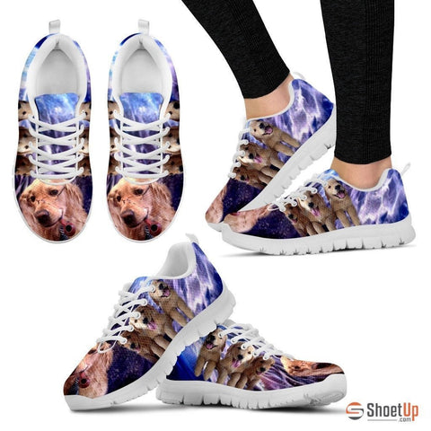 Golden Retriever With Glass Print Running Shoe For Women- Free Shipping