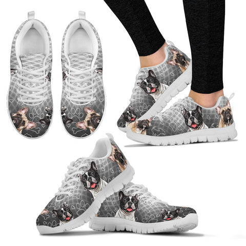 FRENCH BULLDOG Women's Sneakers - Gray/White