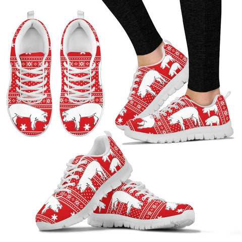 American Yorkshire Pig Print Christmas Running Shoes For Women- Free Shipping