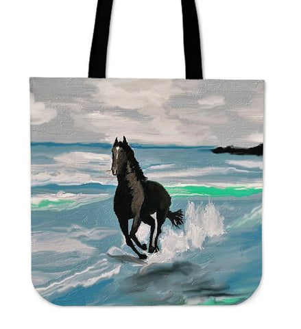 Seascape Horse Tote Bag