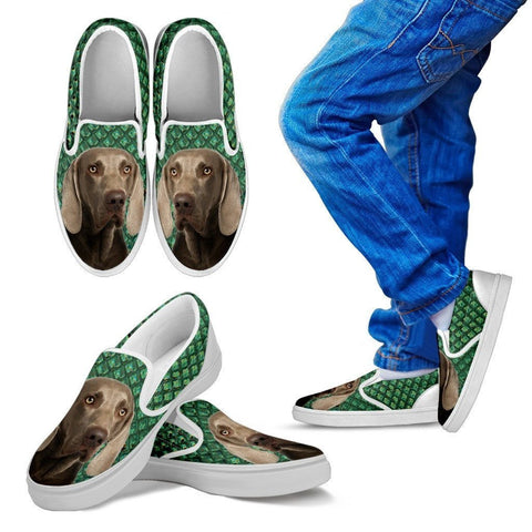 Weimaraner Dog Print Slip Ons For Kids-Express Shipping
