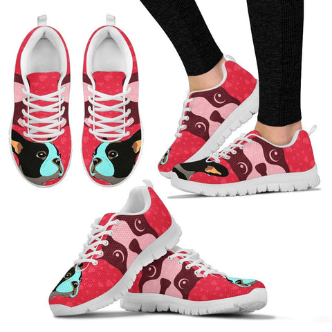 Valentine's Day Special-Boston Terrier Art On Red Print Running Shoes For Women-Free Shipping