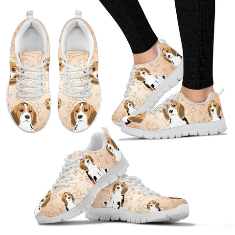 Cute Beagle Women's Sneakers - White