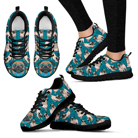 Pug Love Women's Sneakers - Black