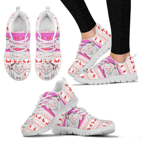 Gloucestershire Old Spots Pig Print Christmas Running Shoes For Women- Free Shipping