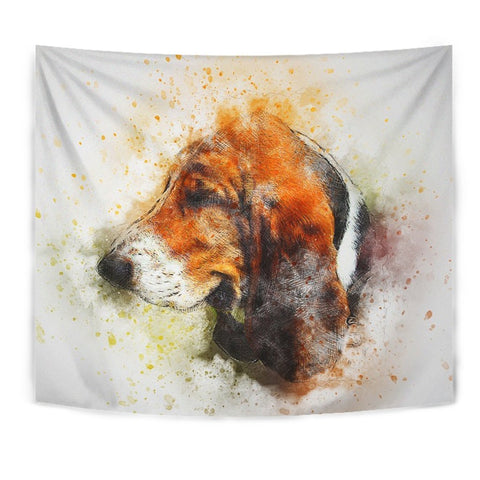 Basset Hound Dog Watercolor Art Print Tapestry-Free Shipping