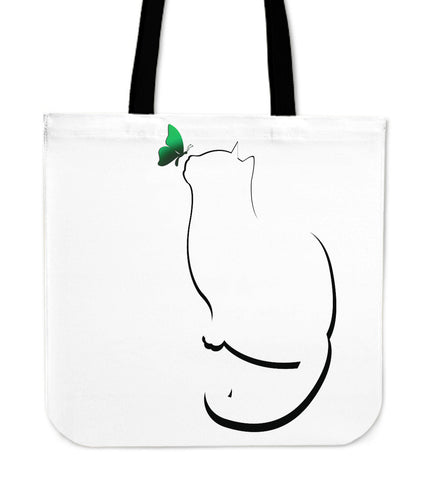 Green Butterfly on Cat Tote Bag