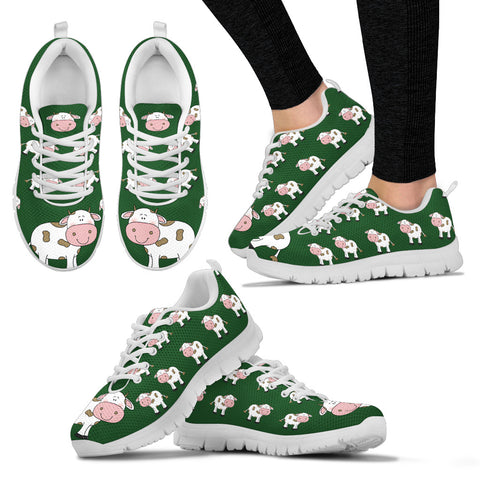 Cute Cow Women's Sneakers - Green with White Soles