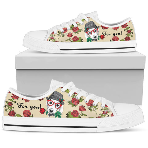 Flower Beagle Women's Low Top Shoe - White