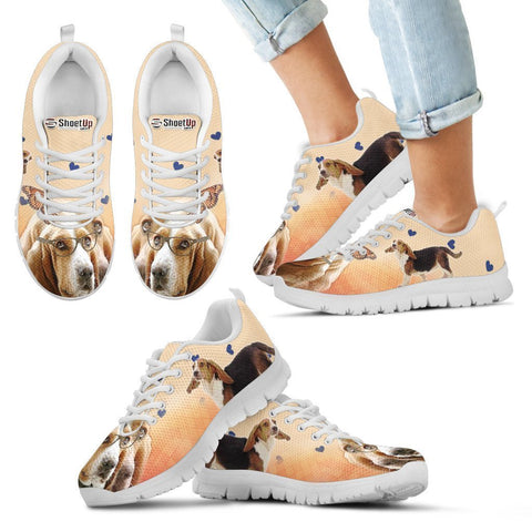 Basset Hound With Glasses Print Running Shoes For Kids- Free Shipping