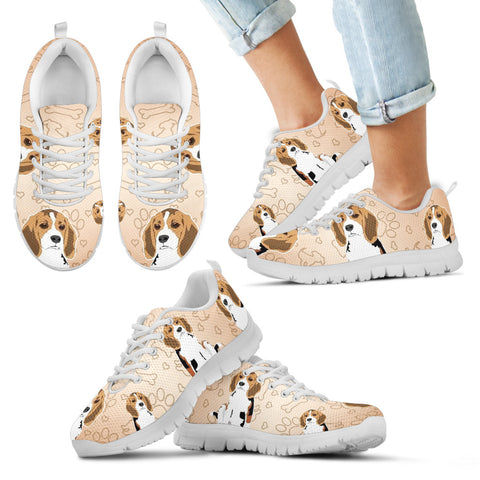 Cute Beagle Kid's Sneakers - White