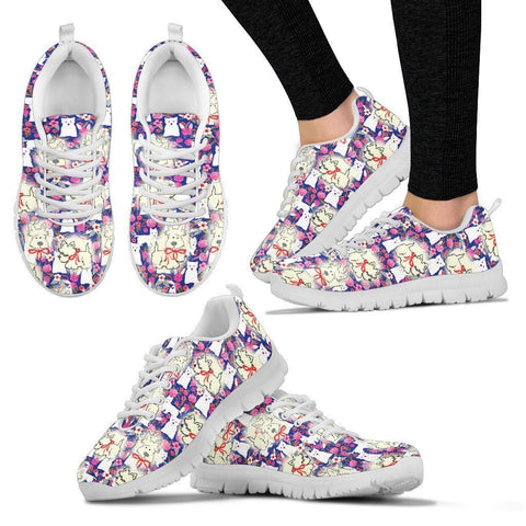 West Highland White Terrier Pattern Print Sneakers For Women- Express Shipping