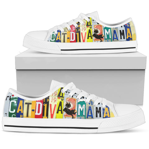 "Cat Print Shoes ""Cat Diva Mama"" License Plate Low Top Shoes"