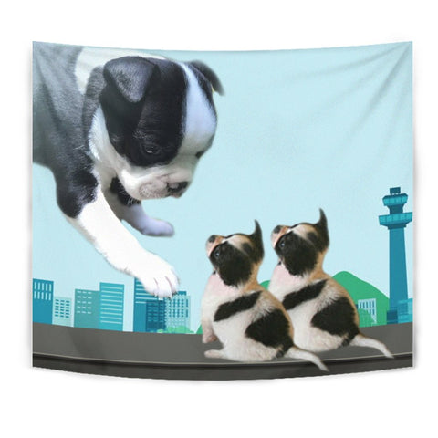 Boston Terrier With Puppies Print Tapestry-Free Shipping