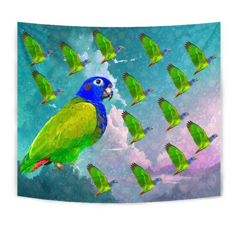 Blue Headed Parrot Print Tapestry-Free Shipping