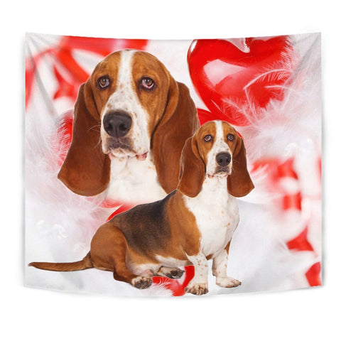 Basset Hound On Red Print Tapestry-Free Shipping