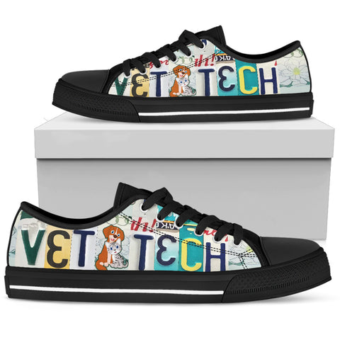 """Vet Tech"" License Plate Low Top Shoes for the Veterinarian Technician - Men"