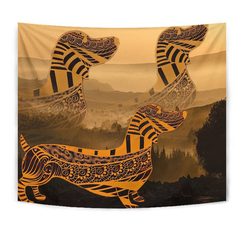 Dachshund Yellow Print Tapestry-Free Shipping