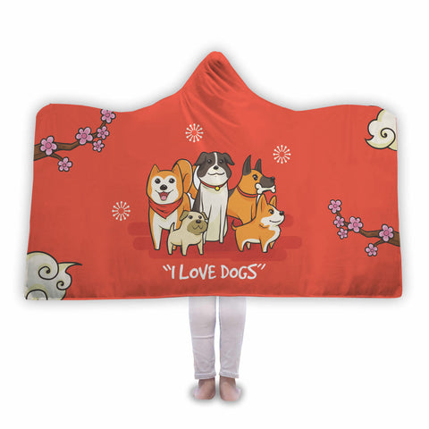 I Love Dogs - Dog Lover Hooded Blanket
