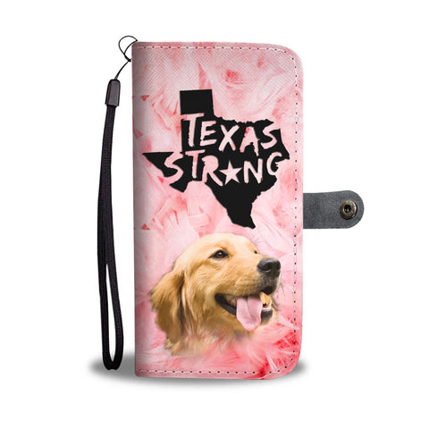 Golden Retriever On Pink Print Wallet Case- Free Shipping-TX State