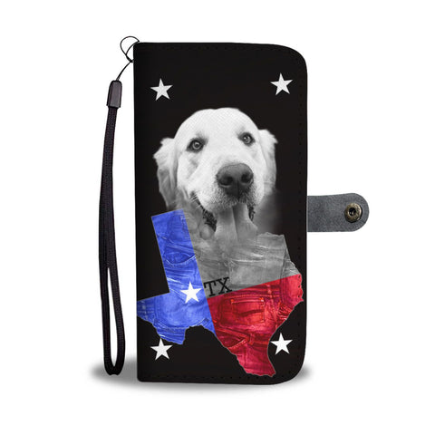 Golden Retriever On Black Print Wallet Case- Free Shipping-TX State