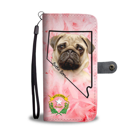 Pug On Pink Print Wallet Case- Free Shipping-NV State