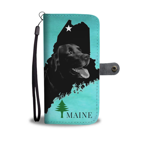 Black Labrador Dog Print Wallet Case-Free Shipping-ME State