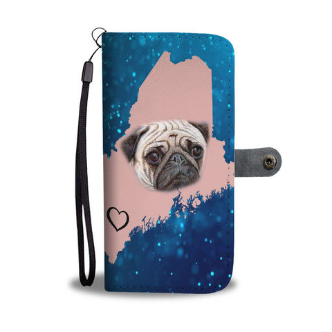 Cute Pug Dog Print Wallet Case-Free Shipping-ME State
