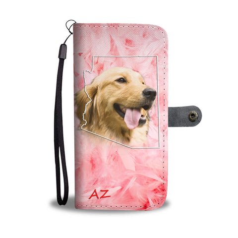 Golden Retriever On Pink Print Wallet Case- Free Shipping-AZ State
