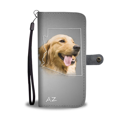 Cute Golden Retriever Print Wallet Case- Free Shipping-AZ State