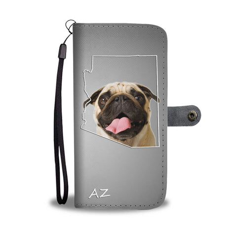 Pug Dog Print Wallet Case- Free Shipping-AZ State