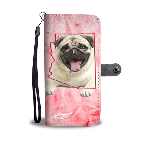 Lovely Pug Print Wallet Case- Free Shipping-AZ State