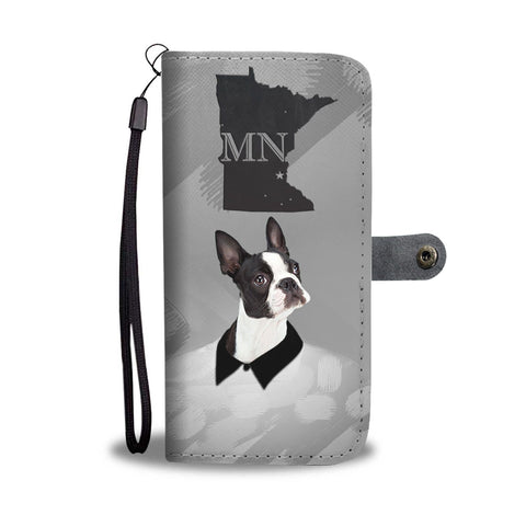 Boston Terrier Print Wallet Case-Free Shipping-MN State
